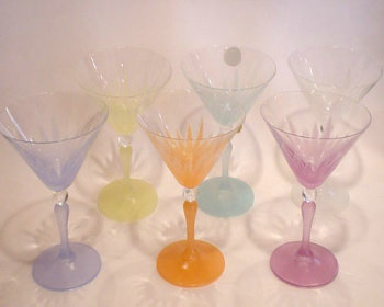 Colored martini glasses